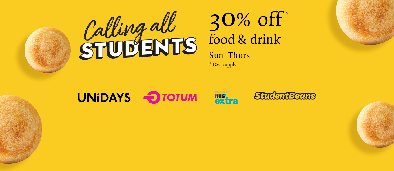 Student discount 30% off food & drink